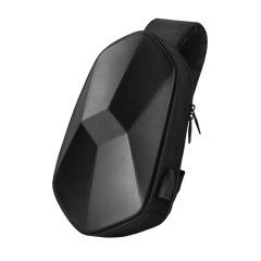 男士胸包探迹者 时尚单肩包PU多功能 潮酷风范USB充电斜挎包户外斜跨 箱包礼品