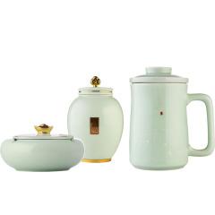 菲驰(VENES)办公杯茶杯烟灰缸茶叶罐玺玉尊享养生青瓷套装三件套 春节送客户礼物