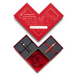 【小时光】创意设计超便携钢笔(双支装)对笔礼盒 厄瓜多尔进口永生花 花信礼盒 个性高档商务礼品
