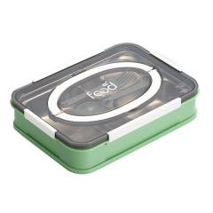 暖芯大容量不锈钢袋勺叉饭盒 学生上班族手提分格便当盒 福利礼品
