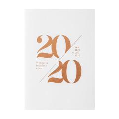 2020简约螺纹压印玫瑰金 白色烫金版日程笔记本日历本仿皮皮面笔记本定制 笔记本礼品定制