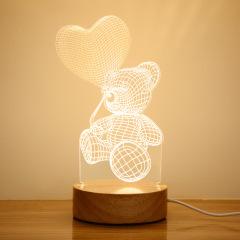 【来图定制】亚克力3D小夜灯 榉木实木底座 单色/三色小夜灯 创意定制小礼品