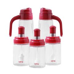 调味瓶多用组合套装 调味瓶*3+油壶*2 家居礼品有哪些