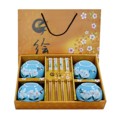 和风日式陶瓷餐具套装 手绘樱花釉中彩碗筷八件套(四碗四筷)