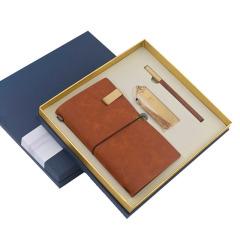 中国风商务复古棕笔记本+书签+笔礼盒套装 高档创意礼品  关于送商务的礼品