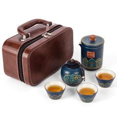 旅行茶具套装一壶三杯快客杯 户外便携车载办公快客杯 公司文化礼品