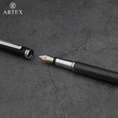 ARTEX雅特仕正品高档商务二合一套装碳钎维钢笔宝珠笔签字墨水笔成人学生中性笔金属笔教师钢笔练字免费刻字