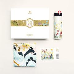 【杭城映像.寻桂】桂花真丝方巾+保温杯+明信片  会议礼品方案