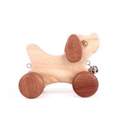 MUSOR 小狗拖拉玩具益智早教儿童玩具环保木质玩具车 母婴店活动赠品