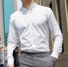 男女同款纯棉免烫长袖职业衬衫 可定制公司职员服 修身商务纯色正装
