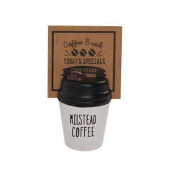 创意简约咖啡杯木质留言夹桌面摆件便签夹   桌面小礼品定制