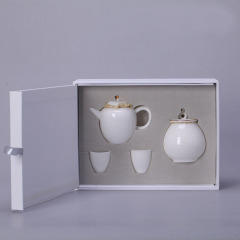 羊脂玉瓷一壶两杯 商务陶瓷功夫茶具套装 公司单位伴手礼品