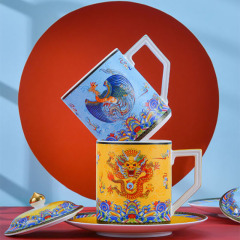 景德镇珐琅彩茶杯 陶瓷带盖把手办公室高档骨瓷马克杯 公司周年庆纪念小礼品
