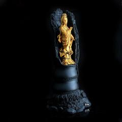 金烏炭雕 立體觀音 手工雕刻工藝品擺件 炭雕藝術品