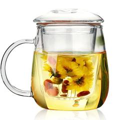 RELEA物生物 茶水分离耐热花茶杯 玻璃带盖茶杯 蘑菇三件杯320ML/500ML 日常礼品送什么