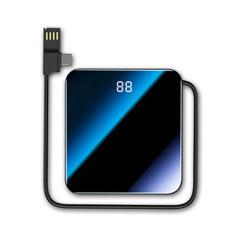 PISEN品胜镜面全屏10000毫安迷你超薄移动电源定制 三合一机线一体充电宝 公司周年庆准备什么礼品比较好