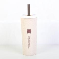 小麦秸秆双盖带吸管防漏大号水杯 450ml--北欧米
